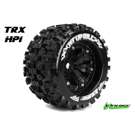 "MT-UPHILL 1:8 Monster Truck Tire Set Mounted Medium Black 3.8"" Rims 1/2""-Offset"
