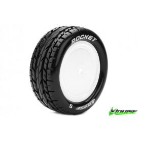 E-ROCKET 1:10 Buggy Tire Set Mounted Soft White Rims Kyosho - LR-T3186SWKF