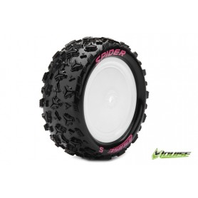 E-SPIDER 1:10 Buggy Tire Set Mounted Soft White Rims Kyosho - LR-T3198SWKF