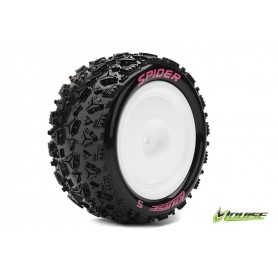 E-SPIDER 1:10 Buggy Tire Set Mounted Soft White Rims Kyosho - LR-T3200SWKR