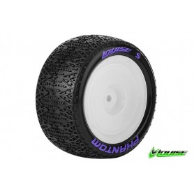 E-PHANTOM 1:10 Buggy Tire Set Mounted Super Soft White Rims - LR-T3180VWKR