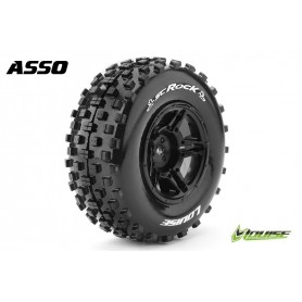 SC-ROCK 1:10 Short Course Tire Set Mounted Soft Black Rims - LR-T3229SBAA