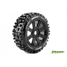 B-ULLDOZE 1:8 Buggy Tire Set Mounted Soft Black Spoke Rims - LR-T324SB