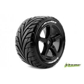 T-ROCKET 1:8 Truggy Tire Set Mounted Soft Black Spoke Rims - LR-T3250SB