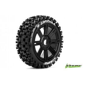 B-UPHILL 1:8 Buggy Tire Set Mounted Soft Black Spoke Rims - LR-T3271SB