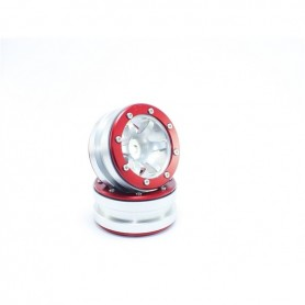Beadlock Wheels PT- Wave Silver/Red 1.9 - MT0070SR