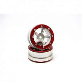 Beadlock Wheels PT-Safari Silver/Red 1.9 - MT0010SR