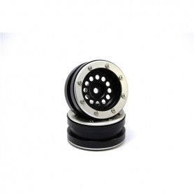 Beadlock Wheels PT-Bullet Black/Silver 1.9 - MT0020BS