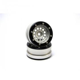 Beadlock Wheels PT-Bullet Silver/Black 1.9 - MT0020SB