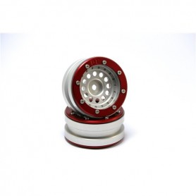 Beadlock Wheels PT-Bullet Silver/Red 1.9 - MT0020SR