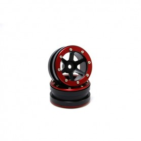 Beadlock Wheels PT- Slingshot Black/Red 1.9 - MT0030BR