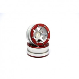 Beadlock Wheels PT- Slingshot Silver/Red 1.9 - MT0030SR