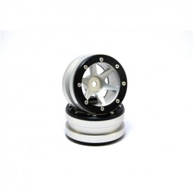 Beadlock Wheels PT- Slingshot Silver/Black 1.9 - MT0030SB