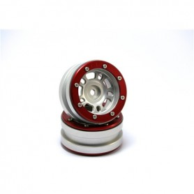 Beadlock Wheels PT- Distractor Silver/Red 1.9 - MT0040SR