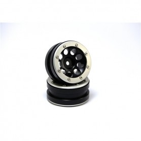 Beadlock Wheels PT- Ecohole Black/Silver 1.9 - MT0050BS
