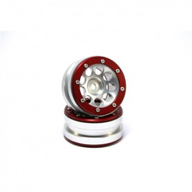 Beadlock Wheels PT- Ecohole Silver/Red 1.9 - MT0050SR