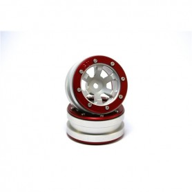 Beadlock Wheels PT- Claw Silver/Red 1.9 - MT0060SR