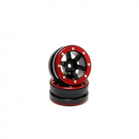Beadlock Wheels PT- Wave Black/Red 1.9 - MT0070BR