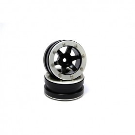Beadlock Wheels PT- Wave Black/Silver 1.9 - MT0070BS
