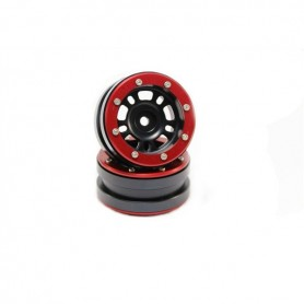 Beadlock Wheels PT- Distractor Black/Red 1.9 - MT0040BR