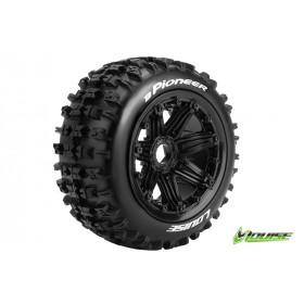 B-PIONEER 1:5 Buggy Tire Set Mounted SPORT Black Rims Hex 2r - LR-T3243B