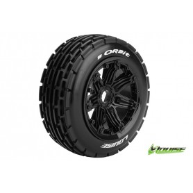 B-ORBIT 1:5 Buggy Tire Set Mounted SPORT Black Rims Hex 24mm - LR-T3265B