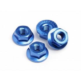 WHEEL NUT M4 SERRATED (BLUE/4pcs)-61093